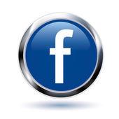 Silver facebook symbol button