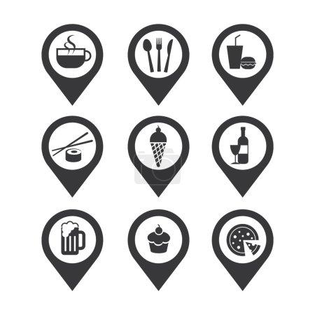 Photo pour Broches de cartographie icône nourriture et boisson - image libre de droit