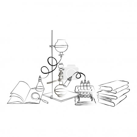 Illustration for Science icons doodles Chemical Laboratory. A stack of books. - Royalty Free Image