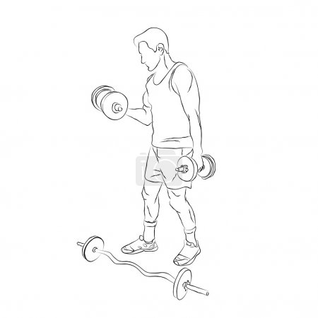 Man with a dumbbell and barbell