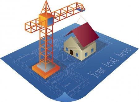 House construction on a blueprint logo