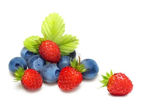 Wild strawberry and blueberry macro isolated on white