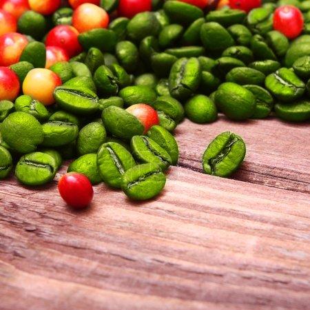 Green coffee beans.