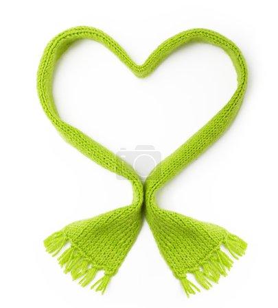 Green wool scarf heart shape