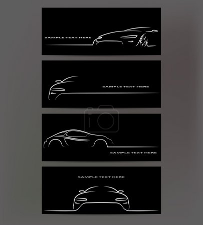 Silhouette of car on black background. Vector illustration