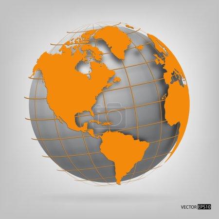 Illustration pour Globe 3D du monde. illustration vectorielle. - image libre de droit