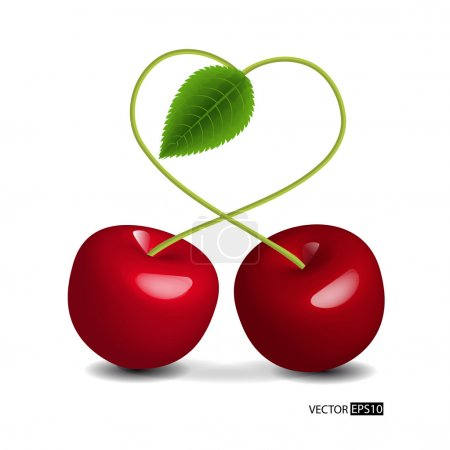 Illustration for Vector heart symbol cherry. - Royalty Free Image