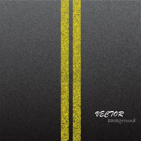 Illustration pour Asphalte texture sombre avec des lignes jaunes . - image libre de droit