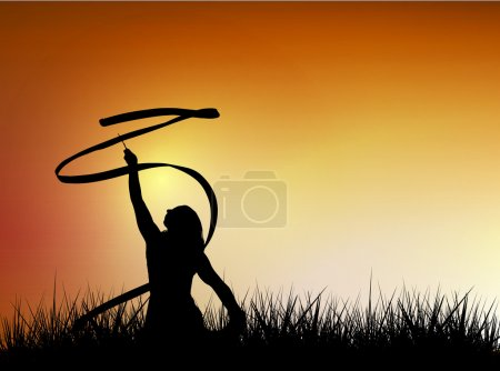 Illustration for Vector silhouette of young woman with tape in field against sunset sky. - Royalty Free Image