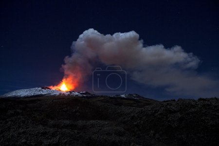 Night view of the ash plume of Mt. Etna