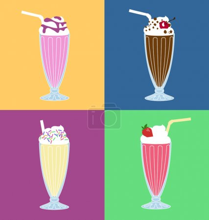 Retro milkshakes vector set