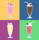 Retro milkshakes vector set