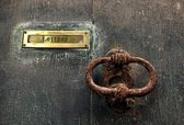 Very Old door handle and place for letters with old texture background
