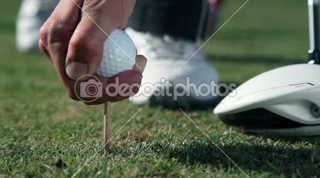 Close up shot of a golfers