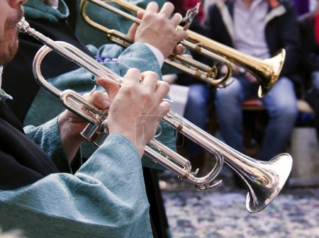 Photo for Trumpet of a musical band on the street in Moors and Christians festival Alcoy, Spain - Royalty Free Image