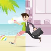 cartoon businessman relax on summer time