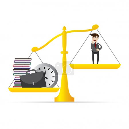 Illustration for Illustration of cartoon businessman and lot of work on balance scale in workload concept - Royalty Free Image