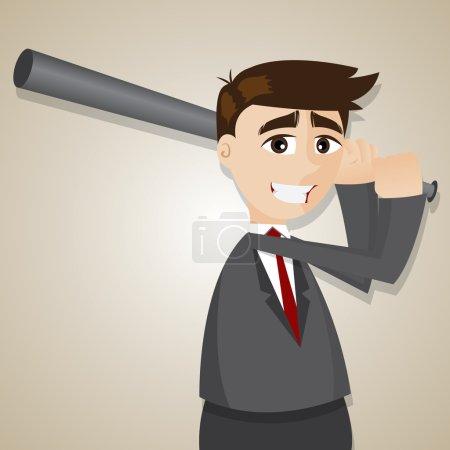 Cartoon businessman with baseball bats