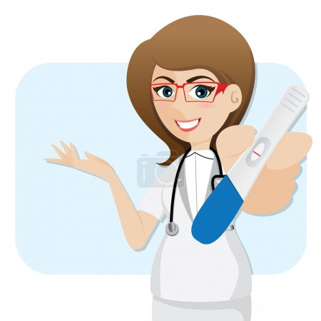 Illustration for Illustration of cartoon cute doctor with pregnancy tester in healthcare concept - Royalty Free Image