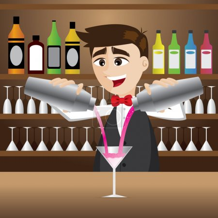 Cartoon bartender pouring cocktail