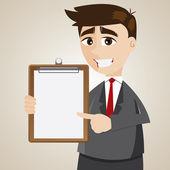 Kreslený podnikatel zobrazeno prázdné desky