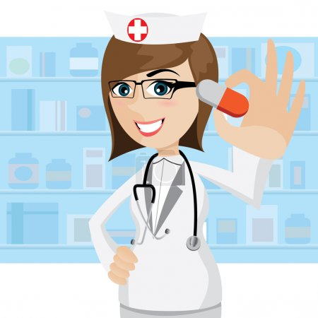 Illustration for Illustration of cartoon pharmacist showing pills in drug store - Royalty Free Image