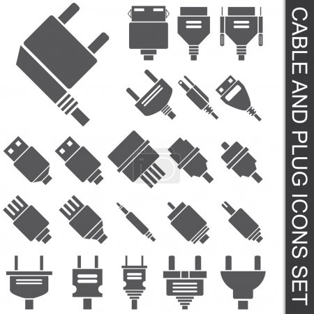 Illustration for Illustration of cable and plug icons set - Royalty Free Image