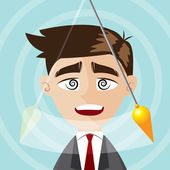 Illustration of cartoon businessman hypnotized