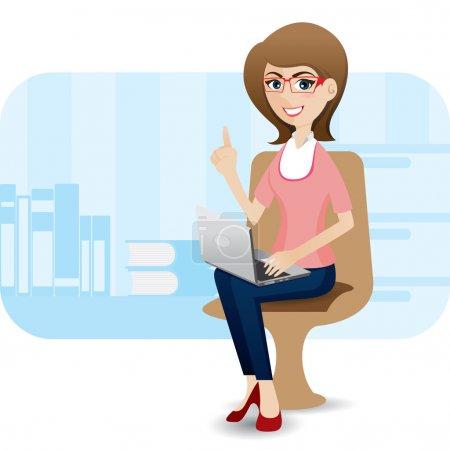 Illustration pour Illustration de dessin animé fille mignonne avec ordinateur portable au bureau - image libre de droit