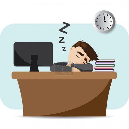 Illustration for Illustration of cartoon businessman sleeping on working time - Royalty Free Image