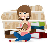 cartoon cute girl reading book in library
