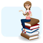 cartoon woman reading book on stack of book
