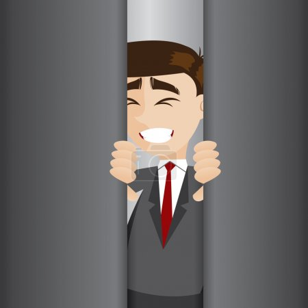 Illustration of cartoon businessman tried to open ...