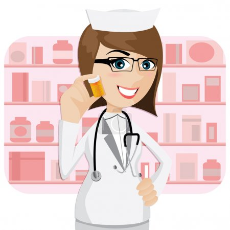 cartoon girl pharmacist showing medicine bottle