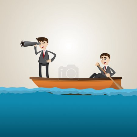 cartoon businessman paddling on sea with teammate scouting