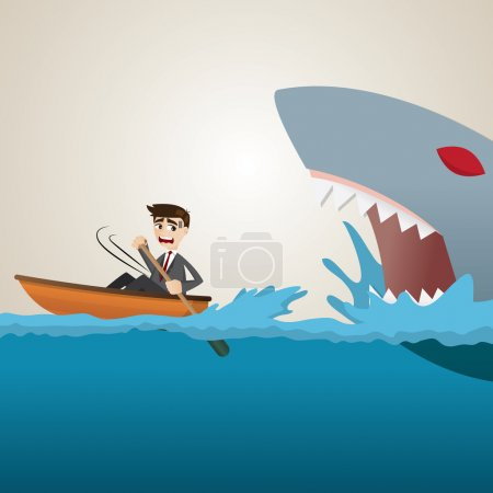 Cartoon businessman paddling escape from shark