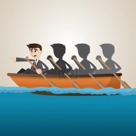 cartoon business team rowing on sea