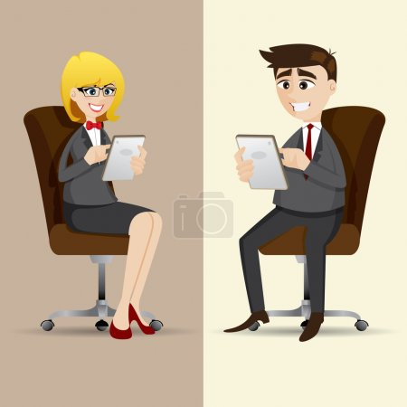 cartoon businesspeople sitting on chair and using tablet