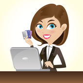 Illustration of cartoon smart girl with credit cards and laptop