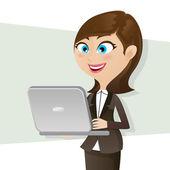 cartoon smart girl using computer notebook