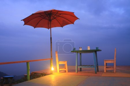 coffee cafe on mountain in twilight