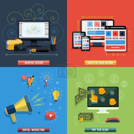Foto de Iconos para diseño web, SEO, redes sociales y publicidad de pago por clic en Internet diseño plano - Imagen libre de derechos