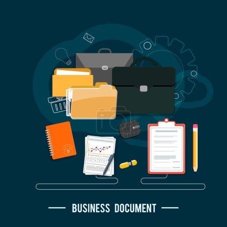Illustration pour Concept de documents d'affaires. Concept d'affiche avec des icônes de documents d'entreprise via des idées de gestion et d'organisation symbole et éléments de lieu de travail dans le design plat - image libre de droit
