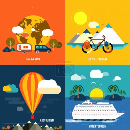 Illustration for Icons set of traveling, planning a summer vacation, tourism and journey objects and passenger luggage in flat design. Different types of travel - Royalty Free Image