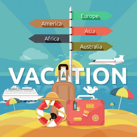 Illustration for Icons set of traveling, planning a summer vacation, tourism and journey objects and passenger luggage in flat design. Different types of travel. Business travel concept - Royalty Free Image