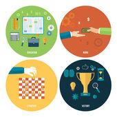 Ikony pro školství, práce, strategie, vítězství