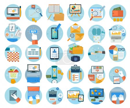 Illustration for Business, office and marketing items icons. Set for web and mobile applications of online purchase, engineering, social media, seo search optimization, pay per click, analysis of documents, online shopping concepts items icons in flat design - Royalty Free Image
