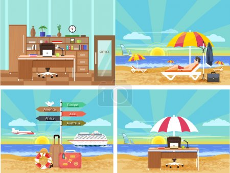 Illustration for Icons set of traveling, planning a summer vacation, tourism and journey objects and passenger luggage in flat design. Different types of travel. Business travel concept. From office in vacation. Office on a beach - Royalty Free Image