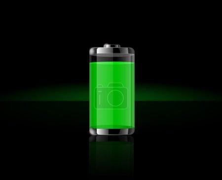 Illustration pour Icônes de batterie transparentes brillantes. Batterie verte sur fond noir - image libre de droit