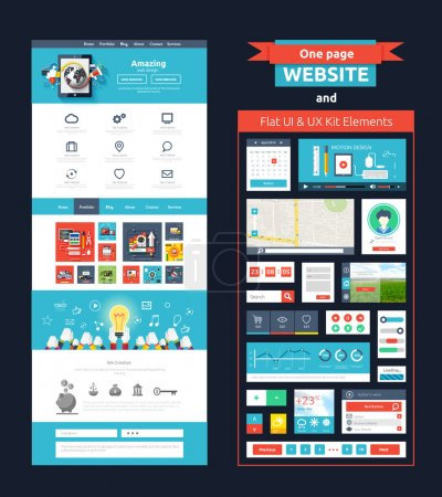 Illustration for Website page template. Web design. Set of web page with icons for different websites in flat style. One page website flat ui and ux kit elements icons - Royalty Free Image